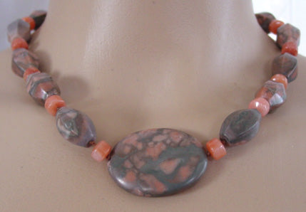 Chunky Natural Marble Necklace Unusal Silver Jewelry