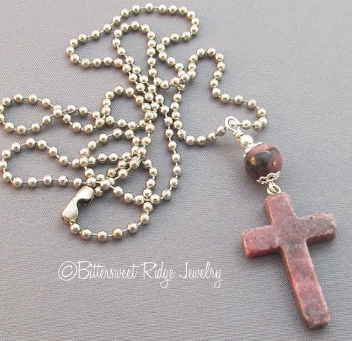 Unisex Cross Necklace Mauve Rhodonite Carved Gemstone