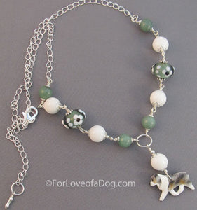 Merle Australian Shepherd Dog Necklace Sage Green and Silver