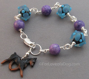 Min Pin Dog Charm Bracelet Purple Turquoise Lampwork Beads Handmade Jewelry