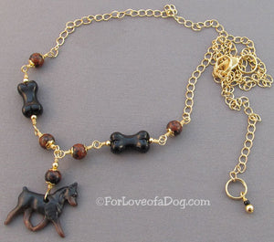 Min Pin Dog Bone Necklace in Gold Handmade Jewelry