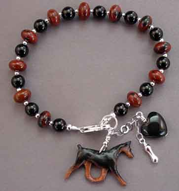 Doberman Pinscher Dobie Dog Breed Jewelry Silver Bracelet