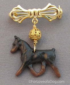 Min Pin Dog Pin Gold Filigree Handmade Jewelry