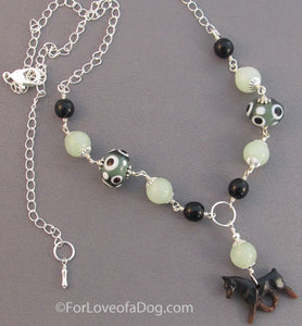 Min Pin Dog Necklace Sage Green Lampwork on Silver