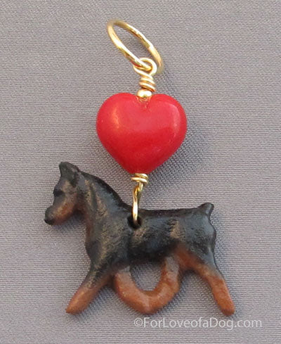 Min Pin Dog Pendant Red Lampwork Heart Gold Handmade Jewelry