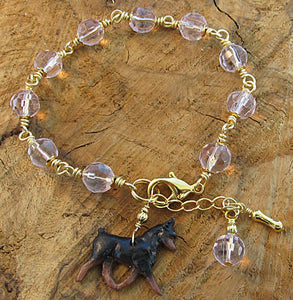 Miniature Pinscher Dog Bracelet Pink Crystal Handmade Jewelry