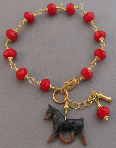 Min Pin Dog Bracelet Red Crystals Gold Handmade Jewelry