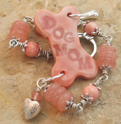 Dog Mom Dog Bone Bracelet Cherry Quartz Silver Handmade