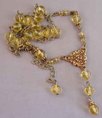 Golden Yellow Crystals Necklace Earrings Set Victorian Style Jewelry
