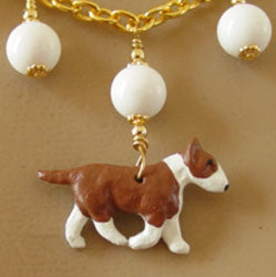 Bull Terrier Dog Jewelry Necklace White Jade