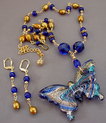 Cobalt Gold Pearls Lampwork Butterfly Necklace Earrings