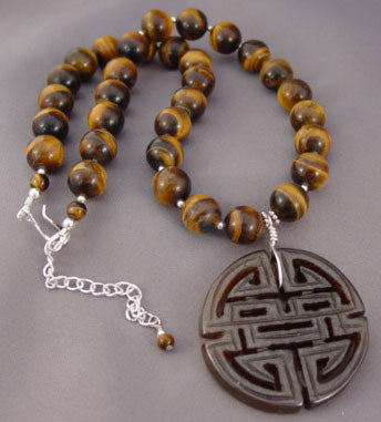 Tigerseye Chinese Shou Longevity Necklace Symbol Jewelry