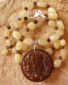 Honey Jade Chinese Shou Necklace Longevity Symbol Jewelry