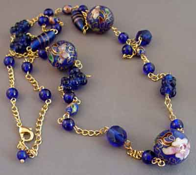Bold Cobalt Blue Opera Length Necklace Gold Jewelry