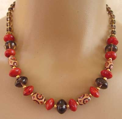 Exotic Red Coral Smoky Quartz Wood Necklace Gold Jewelry