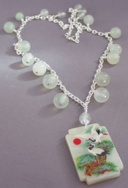 Heavenly Cranes Serpentine Jade Necklace Silver Jewelry
