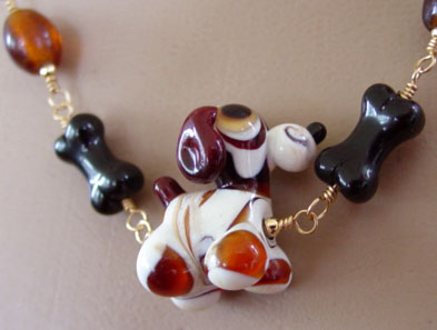 Dog Jewelry Silly Puppy Amber Lampwork Necklace