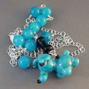Dog Jewelry Necklace Artisan Lampwork Azure Blues