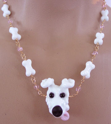 Dog Jewelry White Puppy Lampwork Necklace Pink Crystals