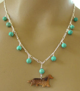 Dachshund Dog Jewelry Necklace Long Haired Doxie Turquoise Silver