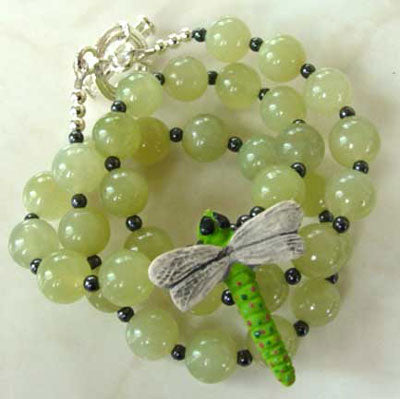 Summer Garden Dragonfly Jade Hematite Necklace