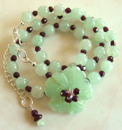 Faceted Garnet Soft Green Flower Necklace Romantic Jewelry