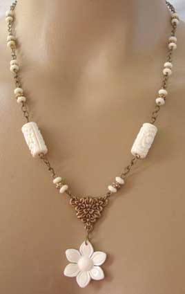 Amen of Nature Necklace Ivory Flower Jewelry