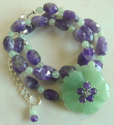 Faceted Amethyst Flower Necklace Handcrafted Jewelry