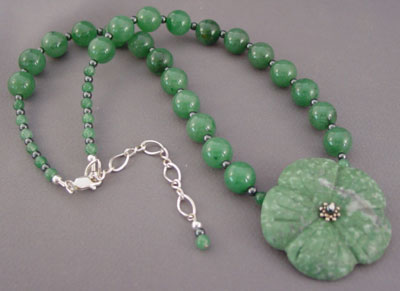 Green is Good Flower Necklace Silver Jewelry