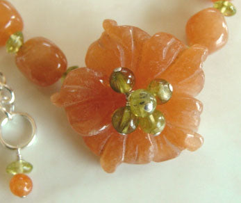 Orange Blossom Peridot Peach Flower Necklace Romantic Jewelry