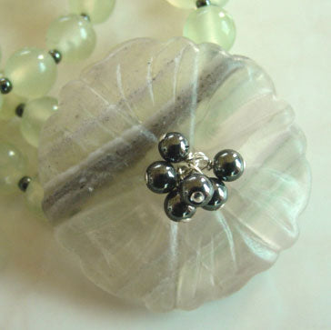 Sleek Flower Chalcedony Jade Necklace Gemstone Jewelry
