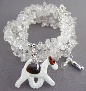 Fox Terrier Dog Jewelry Necklace Handcrafted Sculpture