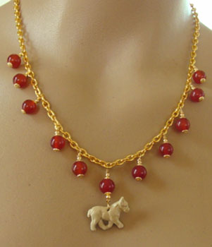 French Bulldog Dog Jewelry Necklace Carnelian Handcrafted