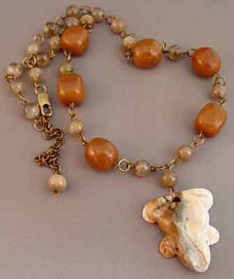 Lucky Jasper Frog Necklace Handcrafted Jewelry