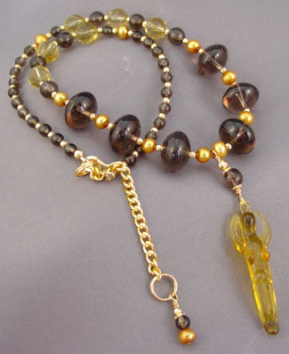 Fertility Goddess Necklace Smoky Quartz Pearl Jewelry