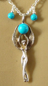 Angel Goddess Necklace Sterling Silver and Turquoise