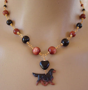 Gordon Setter Dog Jewelry Necklace Gold Handcrafted