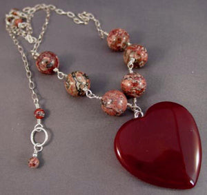 Love Stays Carnelian Heart Necklace Romantic Jewelry