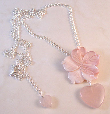 Heart and Flower Love Charm Necklace Pink Jewelry
