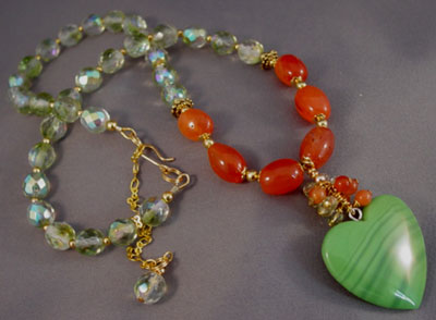 Opposites Attract Carnelian Peridot Necklace Heart Jewelry