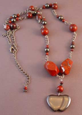Double Heart Red Jasper Love Necklace Romantic Jewelry