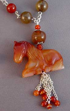 Dramatic Horse Necklace Handcrafted Equestrian Jewelry