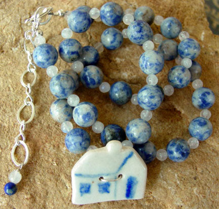 Primitive Folk Art Vintage House Lapis Necklace Gemstone Jewelry