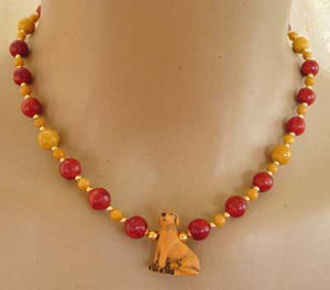 Labrador Retriever Dog Necklace Yellow Jasper Red Coral Gift Dog Breed Jewelry