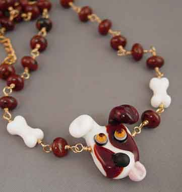 Let's Play! Lampwork Dog Necklace Dog Bone Jewelry