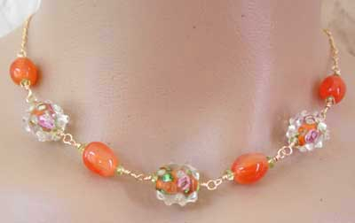 Artisan Lampwork Carnelian Peridot Necklace Gold Jewelry