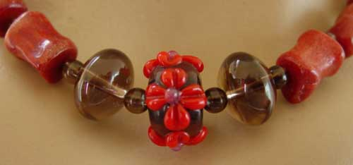 Artisan Lampwork Red Coral Semi Chunky Necklace