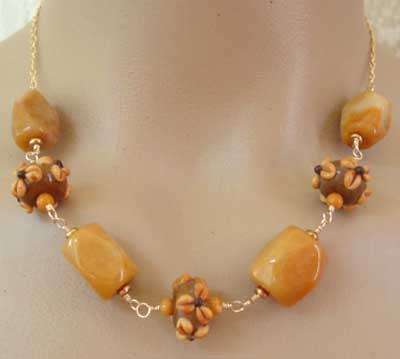 Honey Jade Toffee Lampwork Gold Necklace Flower Jewelry