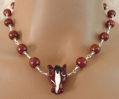 Horse Jewelry Necklace Artisan Lampwork Natural Serpentine