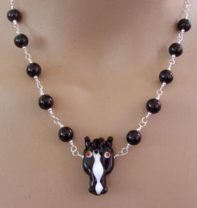 Horse Jewelry Necklace Black Beauty Artisan Lampwork Tourmaline